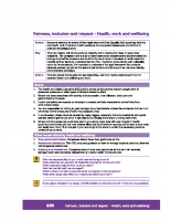 A09 – Fairness Inclusion and Respect – Health, work and wellbeing