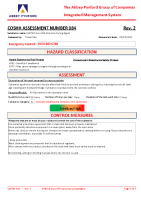 COSHH084 – 2022.02.05 – CHRYSO Cure HPE Concrete Curing Agent – Issue 2