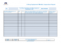 SCL 18 – LOLER Weekly Inspection Sheet – Aug 19 – Issue 1
